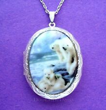 Porcelain Polar Bear Family Cameo Costume Jewelry St Locket Pendant Necklace