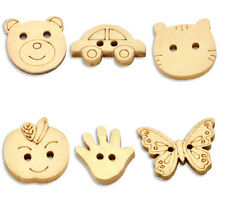 30 MIXED NATURAL WOODEN ANIMAL BUTTONS Sewing ~ embellishment ~ jewellery  (73A)