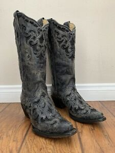 Women's Corral Boots Metallic Gray Real Stingray Inlay Handcrafted Size 8 A3124