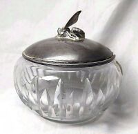 Antique Covered Honey Bowl Crystal German Sterling Silver BEE Wilkens & Sohne