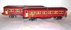 Lionel Prewar O Gauge 1685 1687 Transition Passenger Cars! PA
