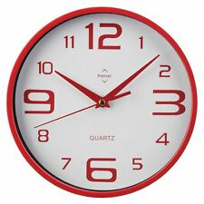 Premier Housewares Red Circular Round Wall Clock Kitchen Office Model 2200571