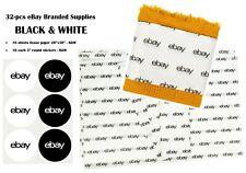 32 Pcs Ebay Branded Supplies Bundled Sets Black Amp White Tissue Paper Amp Stickers