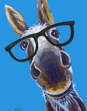 New Cute Donkey Mule With Big Glasses Tin Metal Sign Made In The Usa