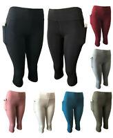 Women Gym Yoga Workout Active Compression Capri Leggings Pants With Pockets Crop