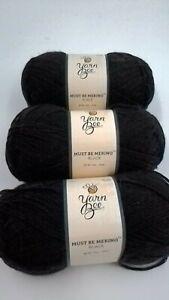 3 Skeins Yarn Bee Must Be Merino  Black color