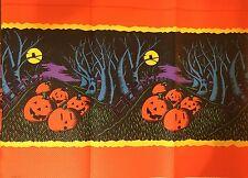 Vintage CREPE Paper  Halloween Spooky Owls,tree Faces,Pumpkins Tablecloth NewX2