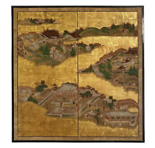 Antique Japanese 2-panel screen painting, Edo Period (1603-1868)