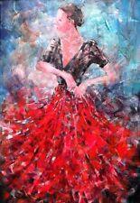 """BELLISSIMO sieri CAVALIERE ORIGINALE """"pronto per Flamenco"""" SPAGNA DANZA PITTURA"""