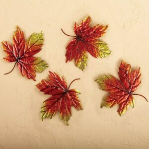 Set of 4 Autumn Canadian Maple Leaves Metal Home Wall Art Decor