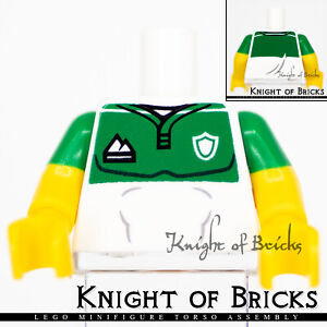 LEGO Minifigure Torso 301 WHITE Male Jersey Sports Logos Green Short Sleeves
