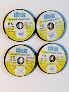 Climax 8X 7X 5X 1X Fluorocarbon Tippet Leader Material 30 Meter Spool USA