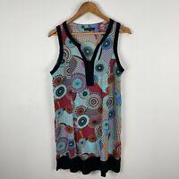 Caroline Morgan Womens Dress 12 Multicoloured Spiral Sleeveless V-Neck