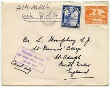 BRITISH GUIANA to NY ONLY BY AIRMAIL BOXED HANDSTAMP 1948 to WALES GB