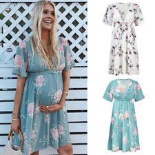 Womens Casual Floral Chiffon Maternity Dress Daily Party Beach Dresses Summer