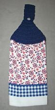 Crocheted Top Kitchen Towel - Red White & Blue Floral Gingham