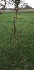 Large Natural Rust Sculptural Obelisk - Climbing Rose Plant Garden Metal Support