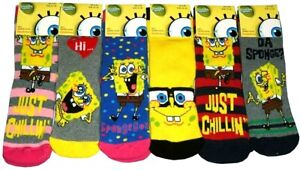 New Kids Boys Girls 2 or 4 Pack of Sponge Bob Slipper Gripper Official Socks