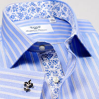 Light Blue Striped Business Formal Dress Shirt Easy Iron B2B Shirt Floral
