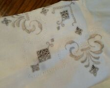 Vintage Ivory Linen With Ecru Embroidery Tablecloth