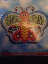 Helium Foil Balloon Bnip.  Butterfly shaped Multi coloured, Get Well Soon
