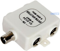 4 Way Coaxial TV AERIAL Cable Splitter 1x Male Plug to 4 x Female Socket Ariel