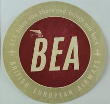 1940's-50's British European Airways Luggage Label Original E18