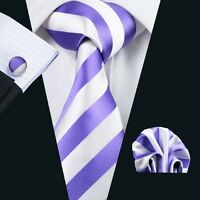 SN-339 Mens White With Purple Stripes Jacquard Woven Silk Neckties Lot Business