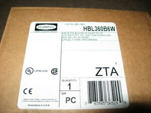 """""""New in Box"""" Hubbell IEC Pin and Sleeve Flanged Inlet HBL360B6W 60 Amp 250 Volt"""