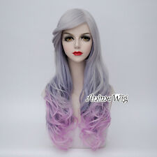 70CM Ombre Lolita Sliver White & Purple Hair Long Curly Halloween Cosplay Wig