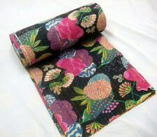 Vintage Kantha fruit print Bedspread Reversible Bed Cover Cotton Throw Blanket
