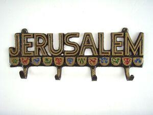 "Brass Key Wall Hanger 7 1/4"" - ""JERUSALEM""  Jewish Christian Decoration Decor"