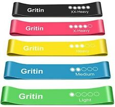 Gritin Resistance Bands, [Set of 5] Skin-Friendly Resistance Fitness Exercise...