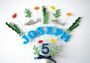 Shark under the sea, fish birthday cake topper, personalised name and age
