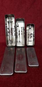 LOT seringue verre ancienne boite métal (s5) old glass syringe alte Glasspritze