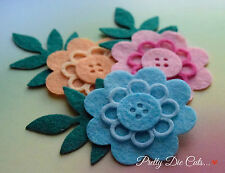Felt Buttonhole Flowers (3), Die Cut Floral Craft Embellishments