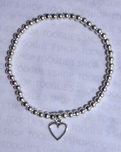 HANDMADE SILVER PLATED STACKING BEAD STRETCH BRACELET - HEART CHARM BNWT (055)