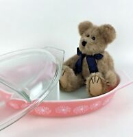 Pink Pyrex Daisy Baking Serving Dish Casserole 1 ½ Qt Covered Lid Vintage Gift
