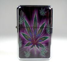 Refillable Lighter Chrome Flip Top Smoking Wind proof Unfilled Tobacco Pot 420