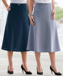 """Damart Plus Size Pack of 2 Panelled Skirts Navy Size UK 22 L29"""" BNWT"""
