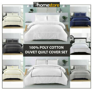 Hotel Quality Embroidery Border Duvet Quilt Cover Bedding Set Single Double King