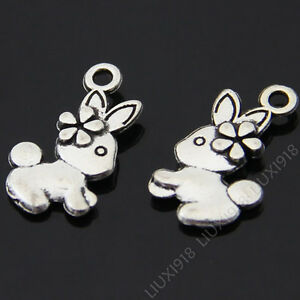 20pc Retro Tibetan Silver Rabbit Animal Pendant Charms Beads Findings B333P
