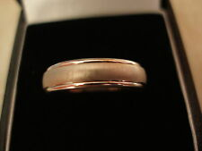 9 CARAT WHITE GOLD 5MM HEAVY COURT WEDDING / DRESS RING MADE BY B & N BNIB