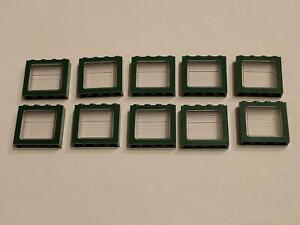 10 Stück Eisenbahn Fenster 1x4x3 + Scheibe zum Nachbau in dunkelgrün NEUWARE