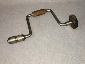 "Vintage Hand Crank Drill Wood Bit Brace - 10"" Sweep"