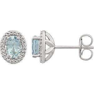 Genuine Aquamarine & Diamond Earrings In Sterling Silver