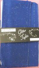 Blue Silver Glitter Tights. 10-16 Metallic 40 denier sparkly party wear