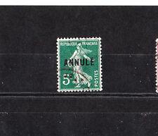 timbre France  Semeuse  5c vert  surchargé Annulé     NUM: 137-CI 1  oblitéré