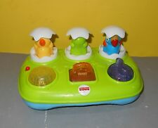 Fisher Price Musical Pop Up Eggs Baby Toy Lights Sounds Chick Turtle Parrot