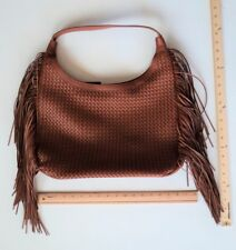 Women's Sonoma BROWN Tote Purse Ladies Hand Bag Style Weave & Fringe Detail